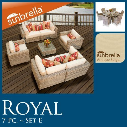 """Royal Outdoor Wicker Patio Furniture Set Deal 7 Pc Seating & 7 Pc Dining 07EP60 Sunbrella Covers!! by TK Classics. $4084.00. Ultra Deep seating modular sectional, allows for a variety of creative configurations. High quality round wicker in rich hues of vintage stone. High Density PE (polyethylene) recyclable wicker - NOT made with PVC which is toxic and non-recyclable. Comes Standard with Sunbrella Cushions. (4) Corner Sofa - 35"""" W x 35"""" D x 26"""" H (1) Coffee Table - 27"""" W x ..."""