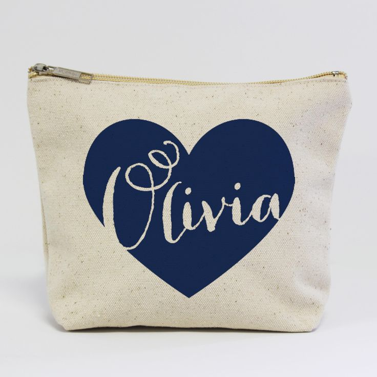 Bridesmaids name inside of a heart makeup bag, such a cute bridesmaid gift