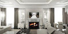 Projektowanie wnętrza stylowego salonu z elementami glamour. Więcej na www.artcoredesign.pl .