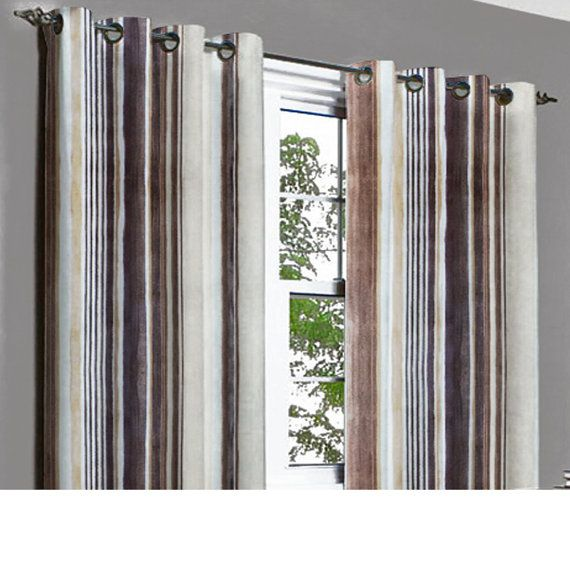 Printed Brown Stripes Grommet Blackout Lining by TheHomeCentric