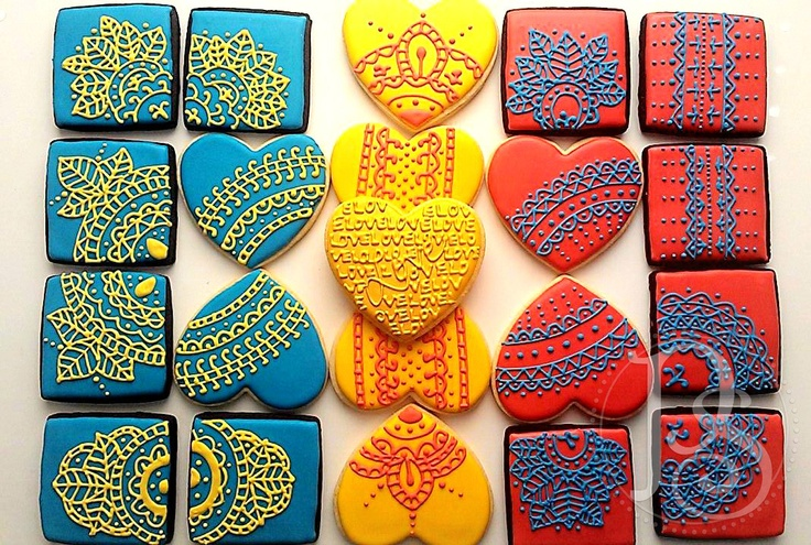 Lace/Mehndi/Henna inspired wedding cookies