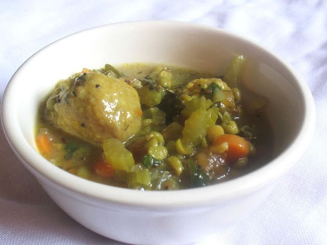 Indian-Style Split Pea Soup with Cornmeal Dumplings. A Canadian classic all dressed up.