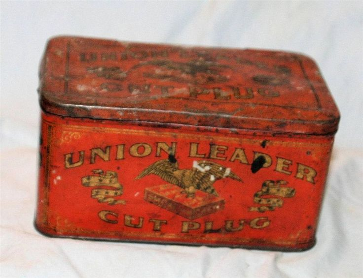 Vintage Antique Union Leader Tobacco Tin Old and Dirty Still Fun to Own!  1930's