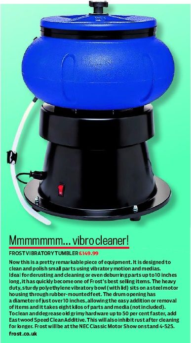 PRODUCT REVIEW: Vibratory Tumbler reviewed by Practical Classics (Dec 2016 issue).    #FrostRestoration #ProductReview #Reviews #Tumbler #Rust #Remover #Polisher