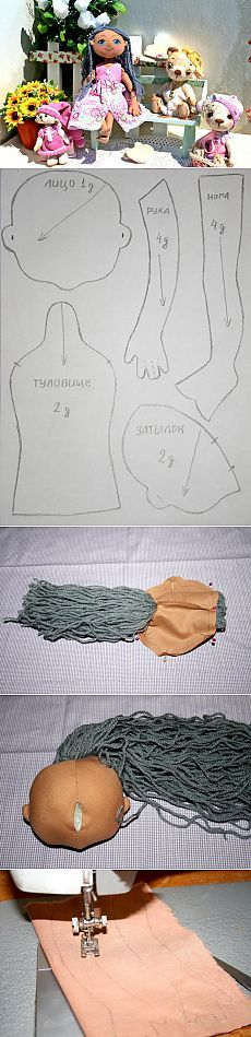 a lot of felt and cloth doll patterns, faces, hair and clothing patterns and tutorials
