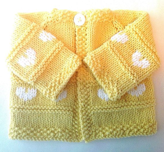 Knit Baby Girl's Cotton Sweater in Yellow by SilvermoonHandKnits