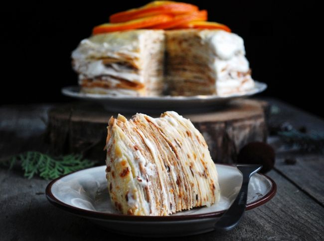 блинный торт с «пьяными» апельсинами