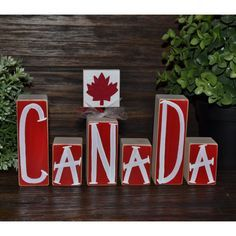 Canada Decor Patriotic Decoration Canadian Block Set Remembrance Day... ($20) ❤️ liked on Polyvore featuring home, home decor, dark olive, home & living, home dé️️cor, ornaments & accents, country style home decor, farmhouse home decor, country home decor and british home decor