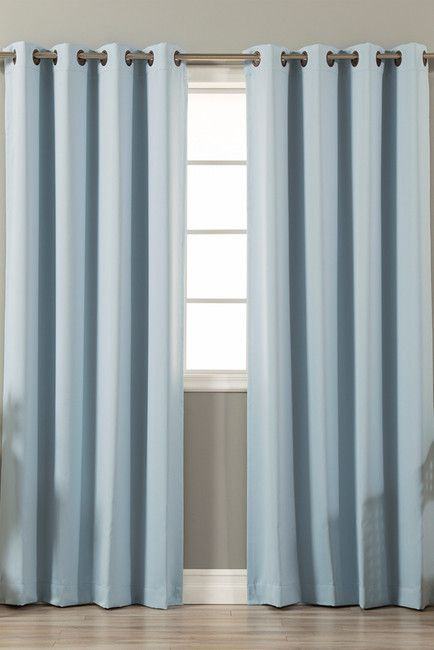 Best Home Fashion Inc. Basic Solid Antique Bronze Grommet Thermal Insulated Blackout Curtains - Set of 2 - Sky Blue