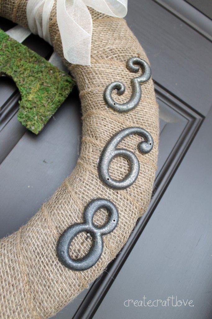Moss Monogram Spring Wreath at createcraftlove.com #spring #wreath
