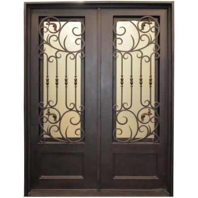 Iron Doors Trento 126bp 3 4 Lite Painted Metal Dark Bronze