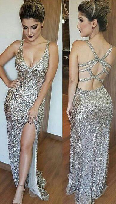 d400dbf0acc4c6 Sexy Mermaid Prom Dresses,Sequin Prom Dress, Long Prom Dress,Slit ...
