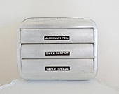 Silver Midcentury Vintage Paper Towel Holder Aluminum Foil Wax Paper Aluminum with Black Highlighted Lettering