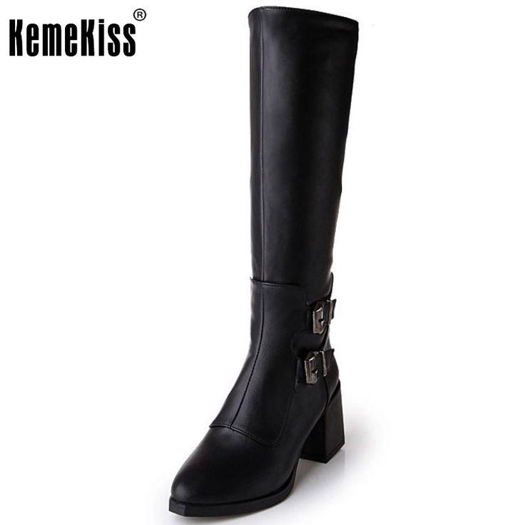 Women Flat Knee Boots Ladies Fashion Gladiator Warm Winter Long Boots Leisure Buckle Zipper Footwear Shoes Women Size 34-43 #Affiliate