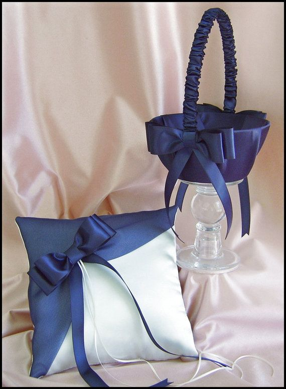 Navy Blue Wedding Flower Girl Basket And Ring Bearer ♥ by All4Brides