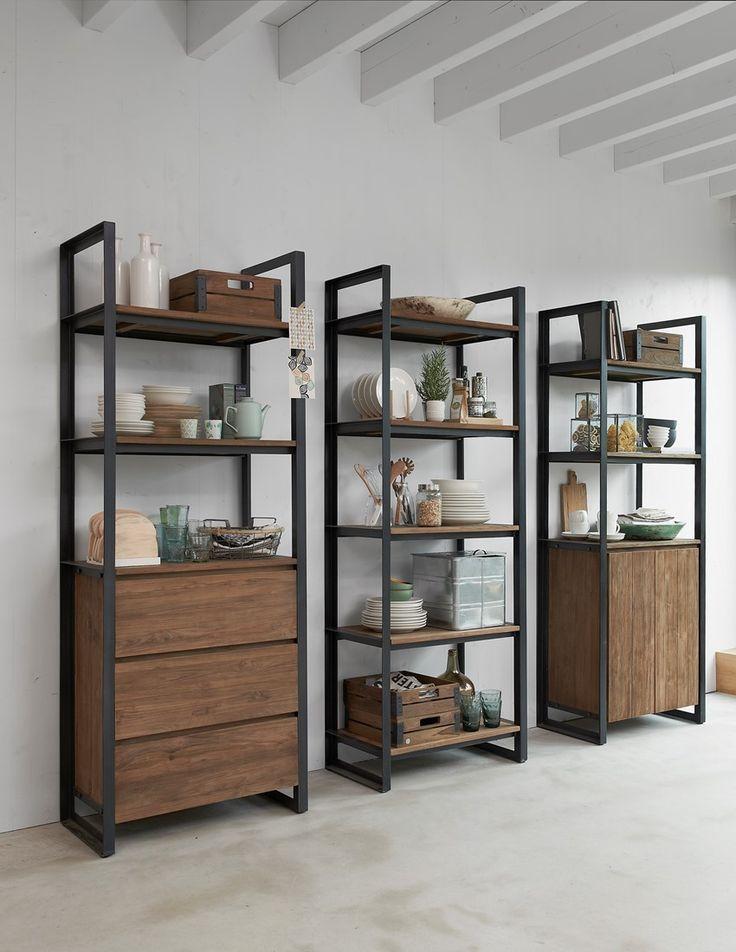 Boekenkast, 3 laden, 3 open vakken 200x75x40 cm-2