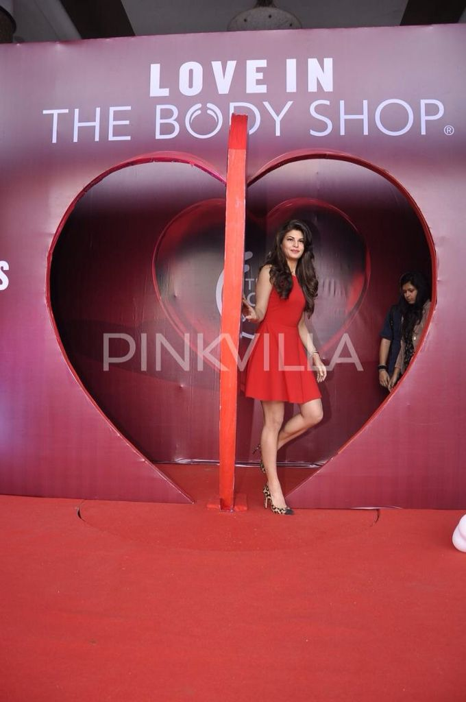 Jacqueline Fernandez looked red hot at this product launch event where she unveiled a perfume for a popular body care brand.