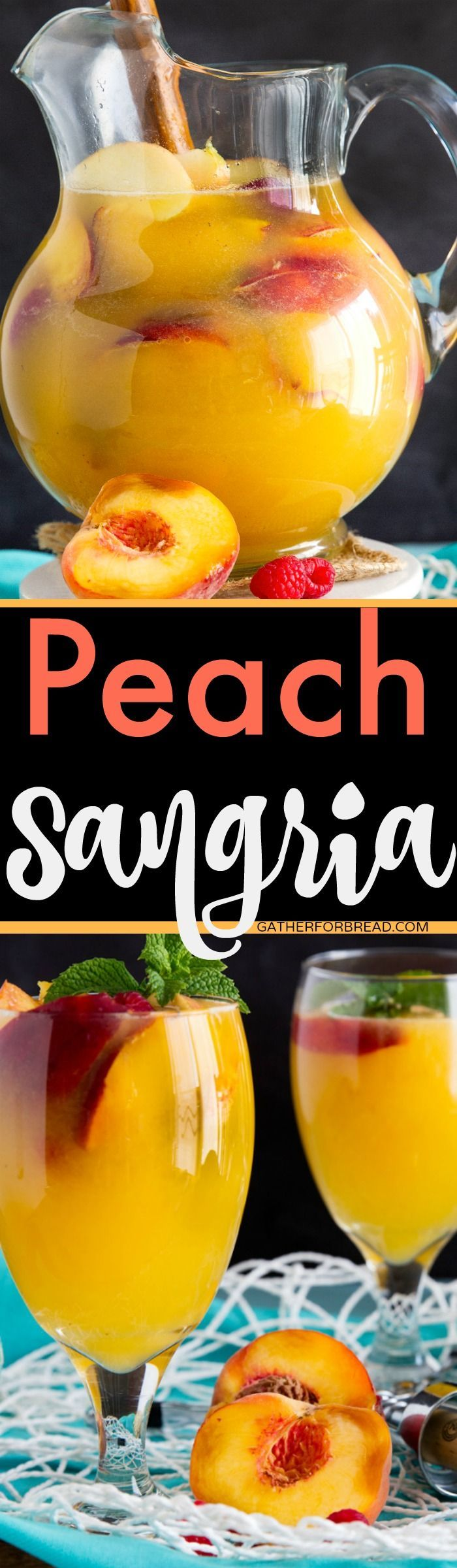 Peach Sangria - Sweet sangria made with fresh peaches. Perfect and refreshing for summer! | gatherforbread.com