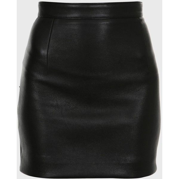 Balmain Straight Skirt In Black Leather found on Polyvore