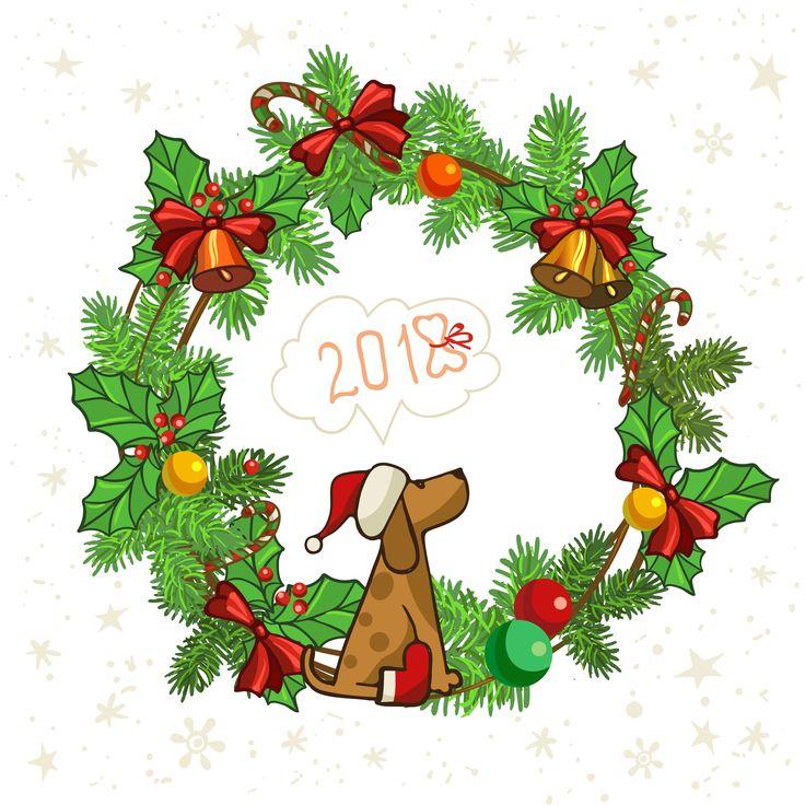 Symbols of christmas and year dog, circle wreath 2018