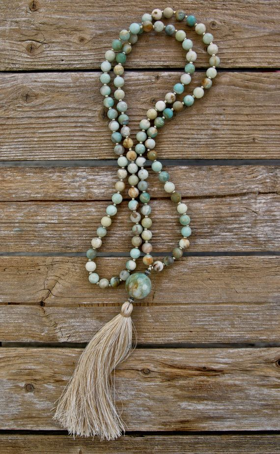 Long Tassel Necklace with Multi-color Jadeite by NORDeastHOME
