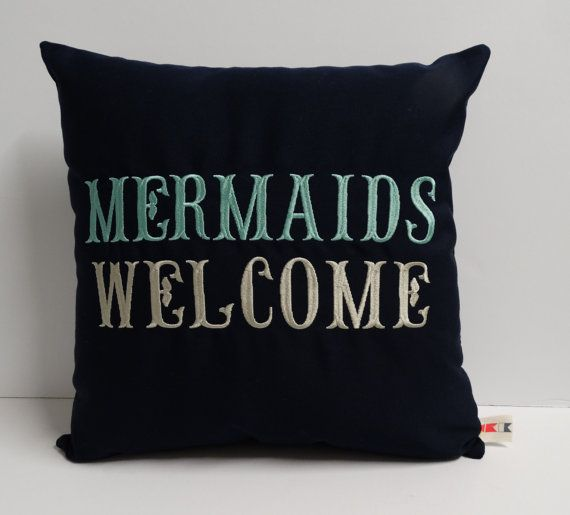 Sunbrella Pillow 16 x 16 Cover, Welcome Pillow, Decorative Pillow, Indoor/Outdoor Pillow, Mermaids Welcome Custom Embroidered Pillow Cover