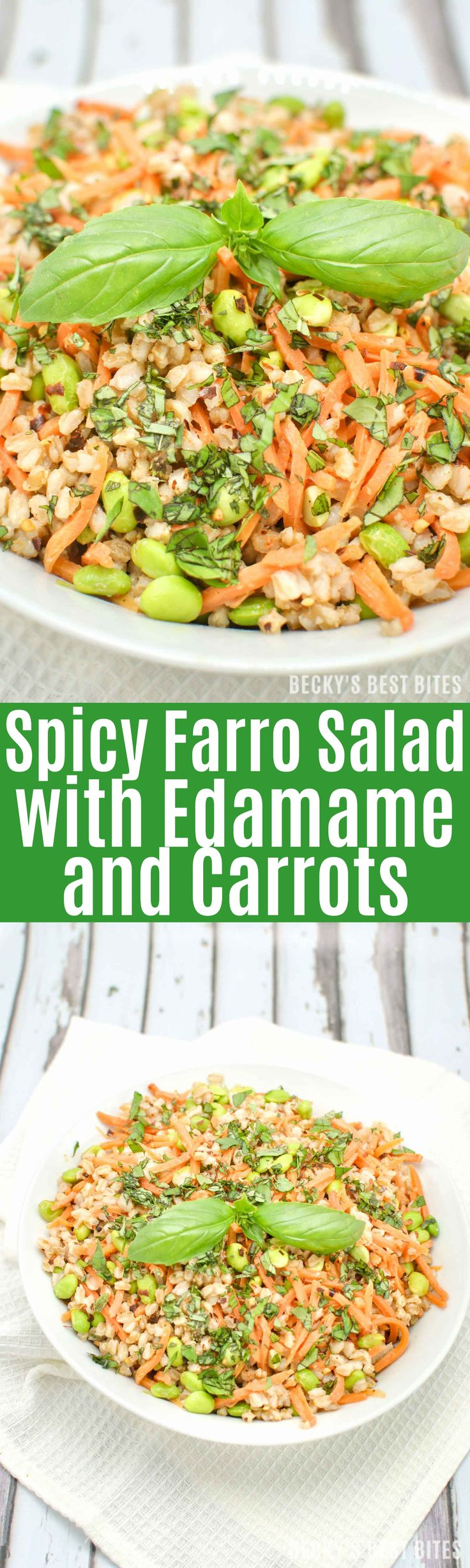 Spicy Farro Salad with Edamame and Carrots is a vegan, high protein, high fiber vegetarian main meal or non-vegetarian side dish perfect for the Spring/Summer months! | beckysbestbites.com