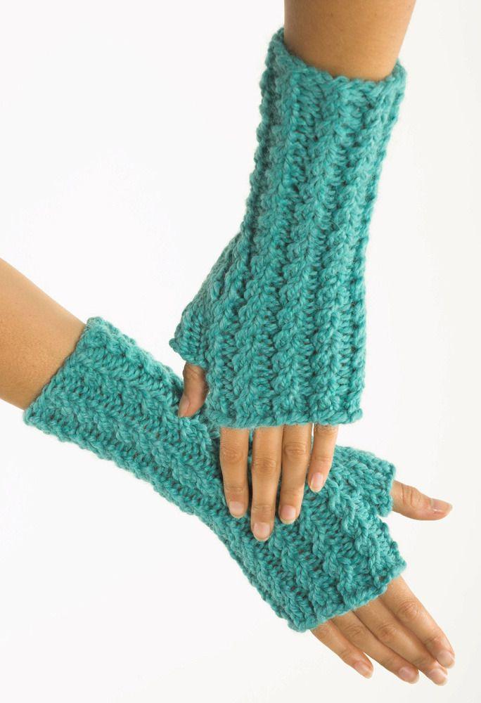 FREE fingerless gloves knitting pattern download from lion brand yarns - LoveKnitting.com