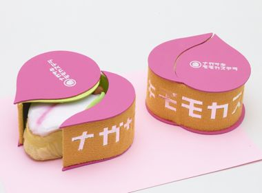 桃の形の桃カステラボックス