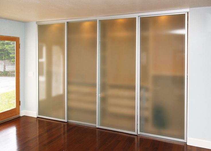 Sliding Glass Closet Doors With Smoked Frosted Glass And Silver Frame  Finish. #closets # Part 49
