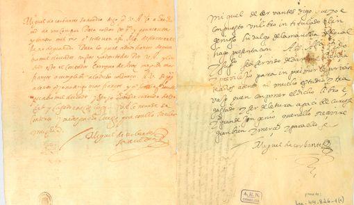 El documento de la Bibloteca Nacional, de 1594, y el último conocido del escritor, de 1604, del Archivo Histórico Nacional. Los doce Cervantes verdaderos