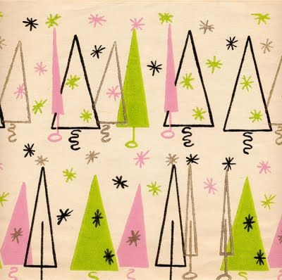 vintage Christmas wrapping paper : 1954