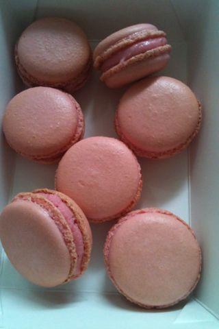Raspberry and white chocolate macarons