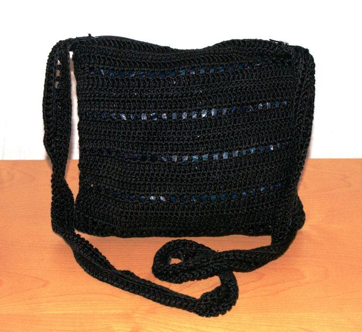 Original Hippie Cotton Shoulder Bag Black Color Borsa Piccola Donna Lunga Tracolla Artigianale Cotone Nero Vintage Anni 90' Gipsy Boho di BeHappieWorld su Etsy