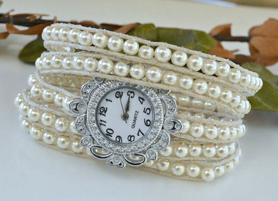 Pearl Wrap Watch by HeartofGems on Etsy
