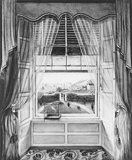 """Victorian decorating 1  http://victoriandecorating.blogspot.com/2007/02/victorian-decorating-1830-50.html  """"A sketch done in 1841 showing Venetian blinds, folded back interior shutters, valance, sheer glass or undercurtains and draperies."""""""