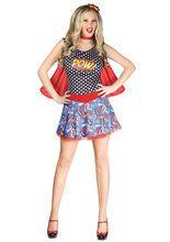 Superheldin Comic-Damenkostüm blau-rot, aus unserer Kategorie Superheldenkostüme. Diese junge Superheldin ist noch nicht lange im Geschäft, doch die Schurken fürchten sie trotzdem schon so sehr wie die alteingesessenen Helden. Denn jeder Schlag der geheimnisvollen Schönheit von einem fremden Planeten hat es wahrlich in sich! Ein sexy Kostüm für Fasching, Comic Messen und Mottopartys.