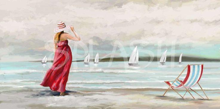 Cuadro de mujer con sombrero en la playa-SP296