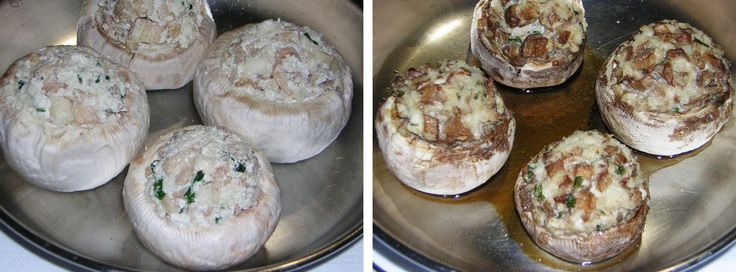 preparazione 2 dei funghi champignon ripieni al forno
