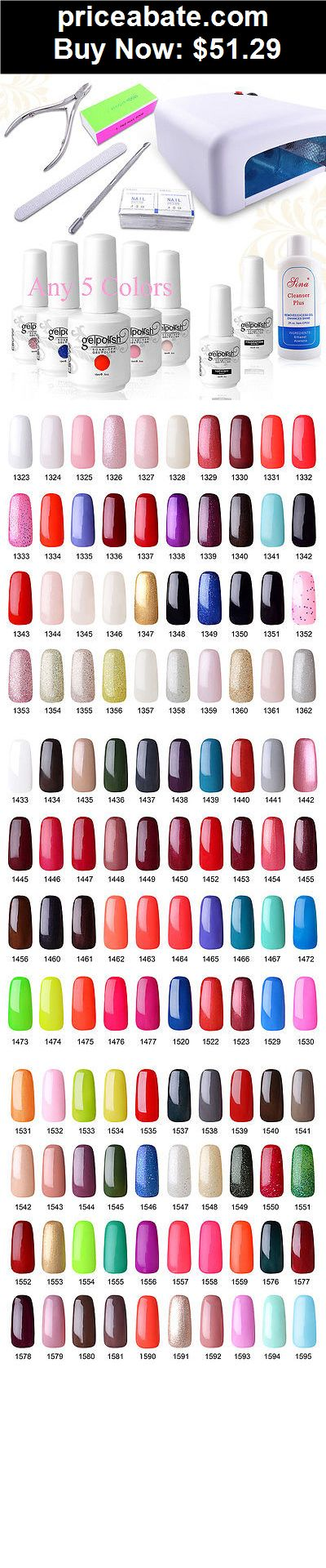 nails: Pick 5 Colours Soak Off Gel Nail Polish Top Base Coat 36W UV Lamp Manicure Kits - BUY IT NOW ONLY $51.29
