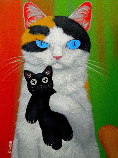 ♥CAT♥ 1192 14- chats chiens.. illustrés série B ( C.C.L)