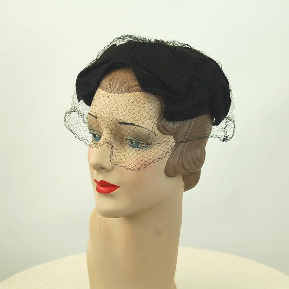 1950s hat black nylon close hat with bows and by vintagerunway