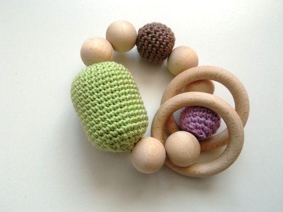 crochet natural wood teether  teething ring  by RedOgeeSheep