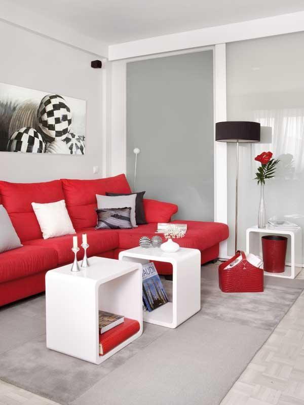 ¿Te habías imaginado una #sala decorada con #rojo y #blanco?
