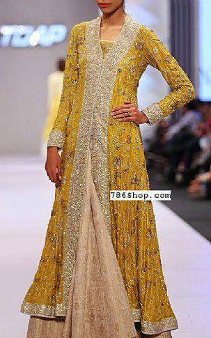 Mustard Crinkle Chiffon Suit | Buy Pakistani Dresses Online in USA | www.786shop.com