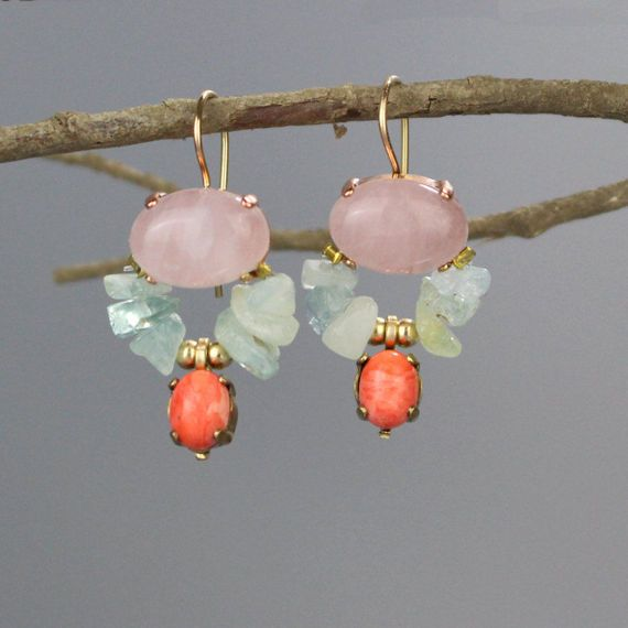 Colorful Boho Wedding Earrings, Delicate Earrings, Rose Quartz Aquamarine Butterfly Earrings, March Birthstone, Bridesmaid Earrings, Gifts  Colorful butterfly earrings set with a gorgeous rose quartz, hand woven aquamarine and a coral drop. This unique butterfly earrings design is timeless, so you can enjoy it for years and years to come. The hook is made of gold filled. The earrings hook can be made with sterling silver or solid gold incase of allergy issues. Please choose the metal youd…