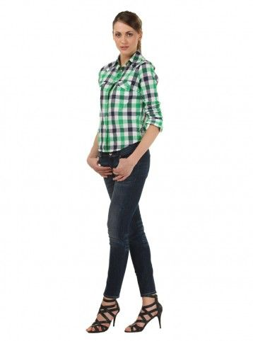 Working woman!    perfect look for office, pair this Green shirt with slim fit jeans, high heels and a neat pony, and work in style!  http://www.freecultr.com/online-shop-by-look-women-shirt-slim-fit-jeans.html#