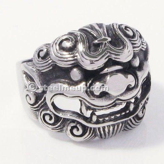 STEEL ME UP Stainless Steel Chinese Auspicious Animal Qilin Men Biker Ring at steelmeup.com $12.99 USD