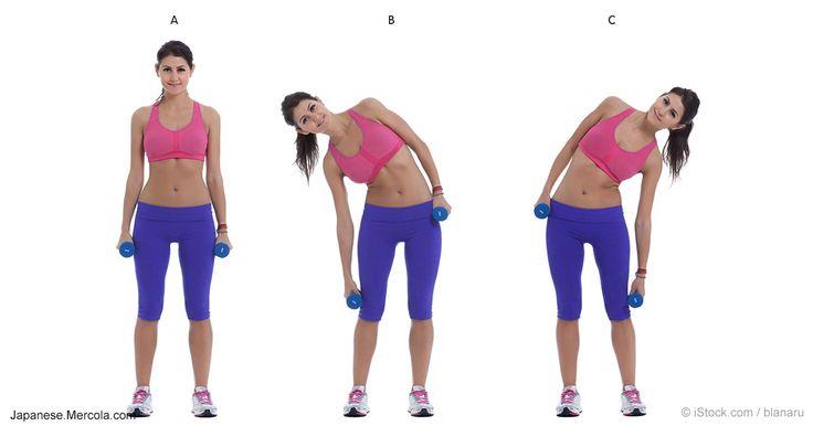 立ったままで、身体をねじって歩いたり、ウエイトを持って身体を曲げたり、横向きの屈伸運動などさまざまなエクササイズができます。