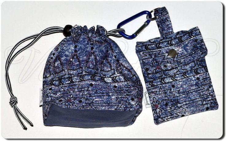 Dog Treat Bag w/ Bonus Waste Bag Holder / Belt Clip, Southwestern Native Design #handmade